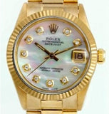 Pre Owned Mid-Size Yellow Gold Datejust President Watch White MOP Diamond 68278