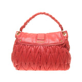 Miu Miu Orange Red Matelasse Nappa Leather Coffer Handbag
