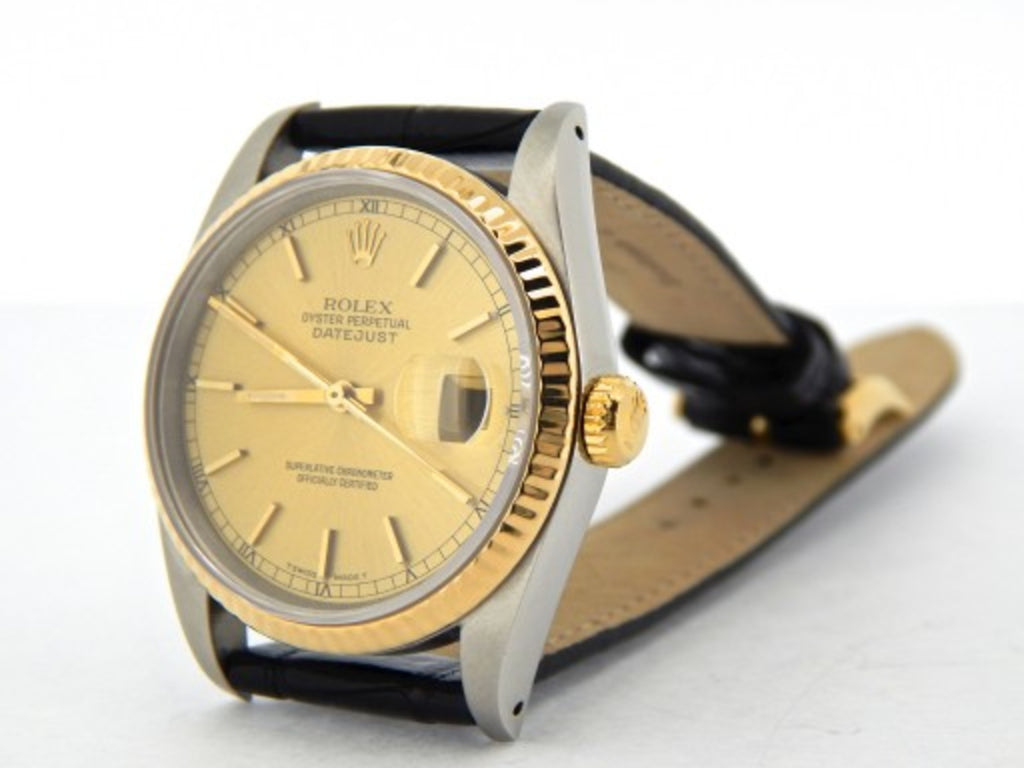 Pre Owned Mens Rolex Two-Tone Datejust with a Gold Champagne Dial 16233