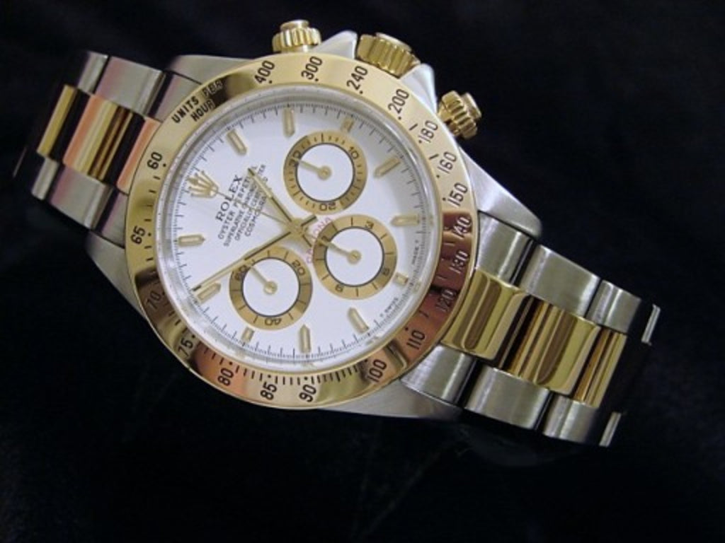 PRE OWNED MENS ROLEX TWO-TONE DAYTONA WITH A WHITE DIAL 16523