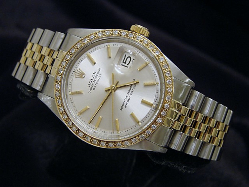 Pre Owned Mens Rolex Two-Tone Datejust Diamond with a Silver Dial 1601