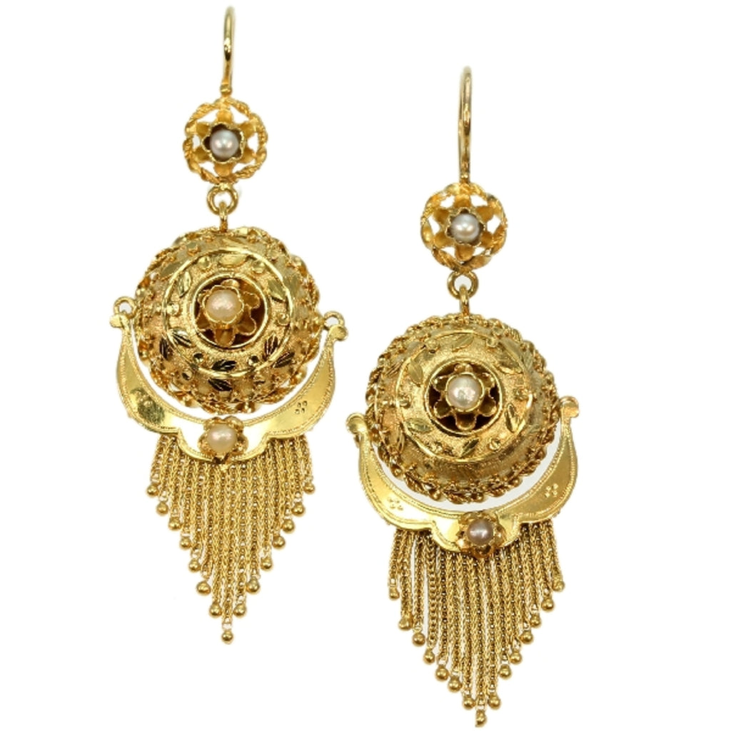 Gold Victorian earrings with tassels