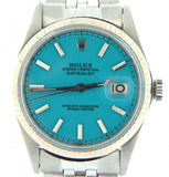 Pre Owned Mens Rolex Stainless Steel Datejust with a Turquoise Dial 1601