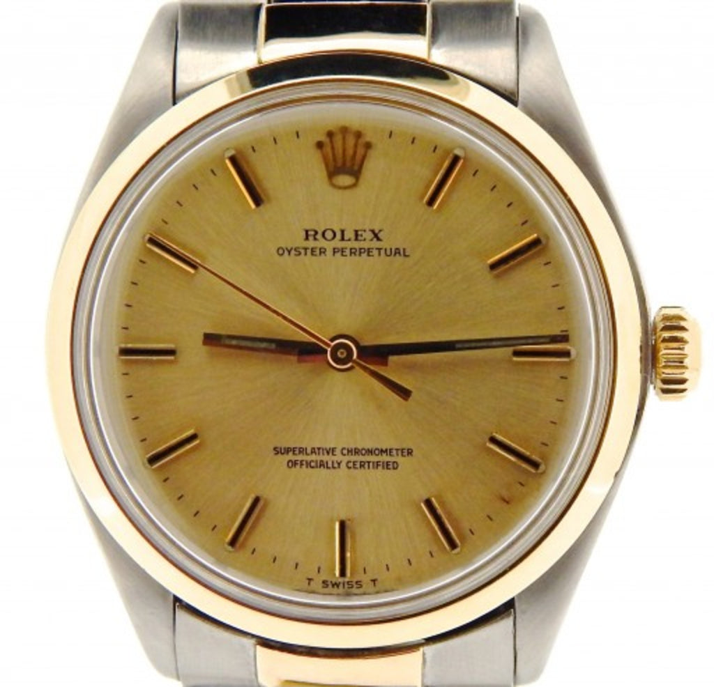 PRE OWNED MENS ROLEX TWO-TONE OYSTER PERPETUAL WITH A CHAMPAGNE DIAL 1002