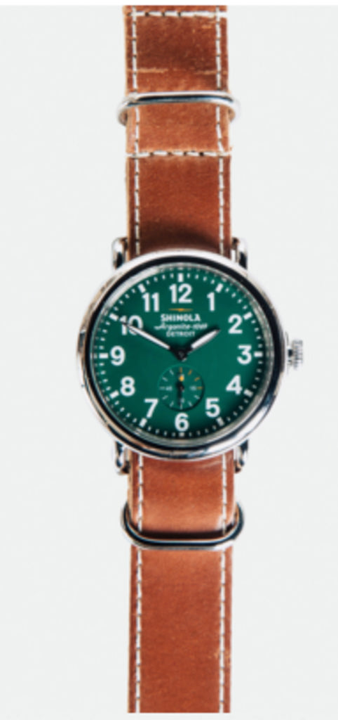 SHINOLA RUNWELL 41MM WATCH: GREEN/BROWN