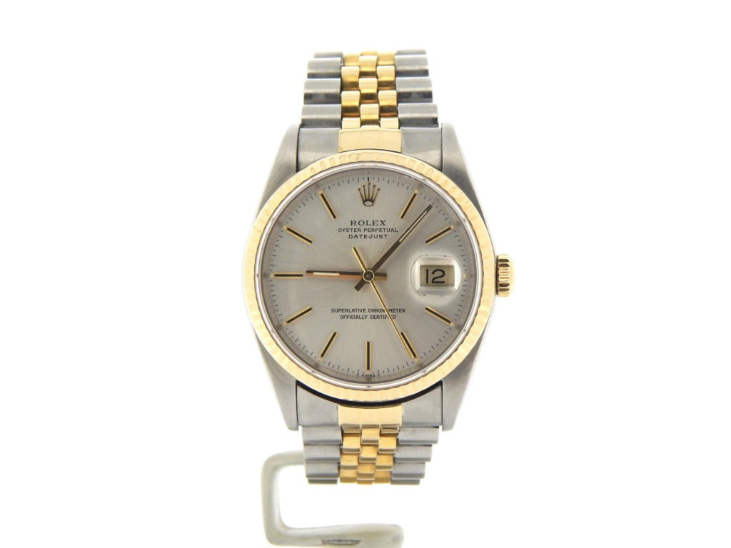 Pre Owned Mens Rolex Two-Tone Datejust with a Silver Dial 16013