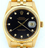 Pre Owned Mens Rolex Yellow Gold Datejust with a Black Diamond Dial 16238