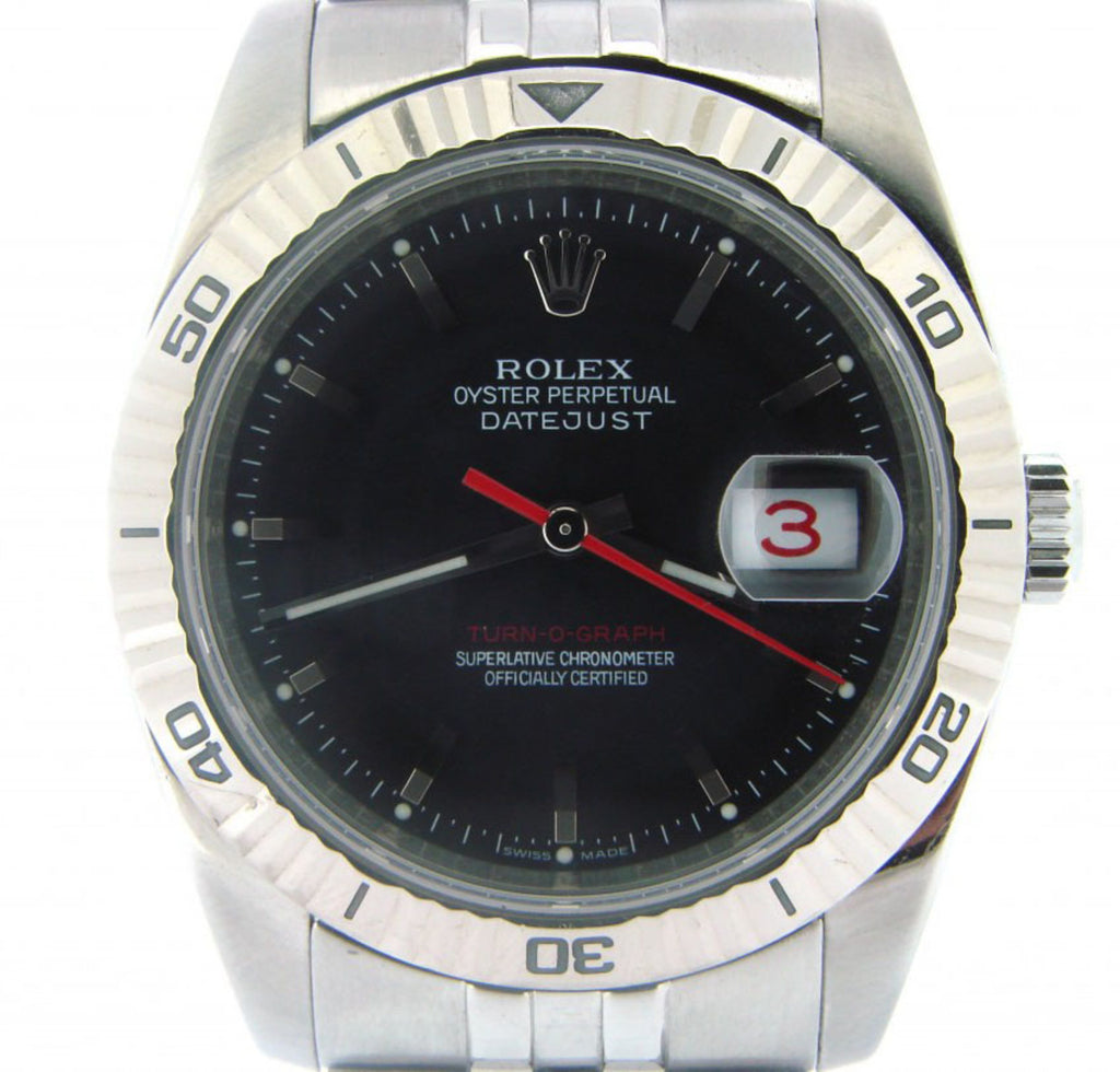 Pre Owned Mens Rolex Stainless Steel Datejust with a Black Dial 116264
