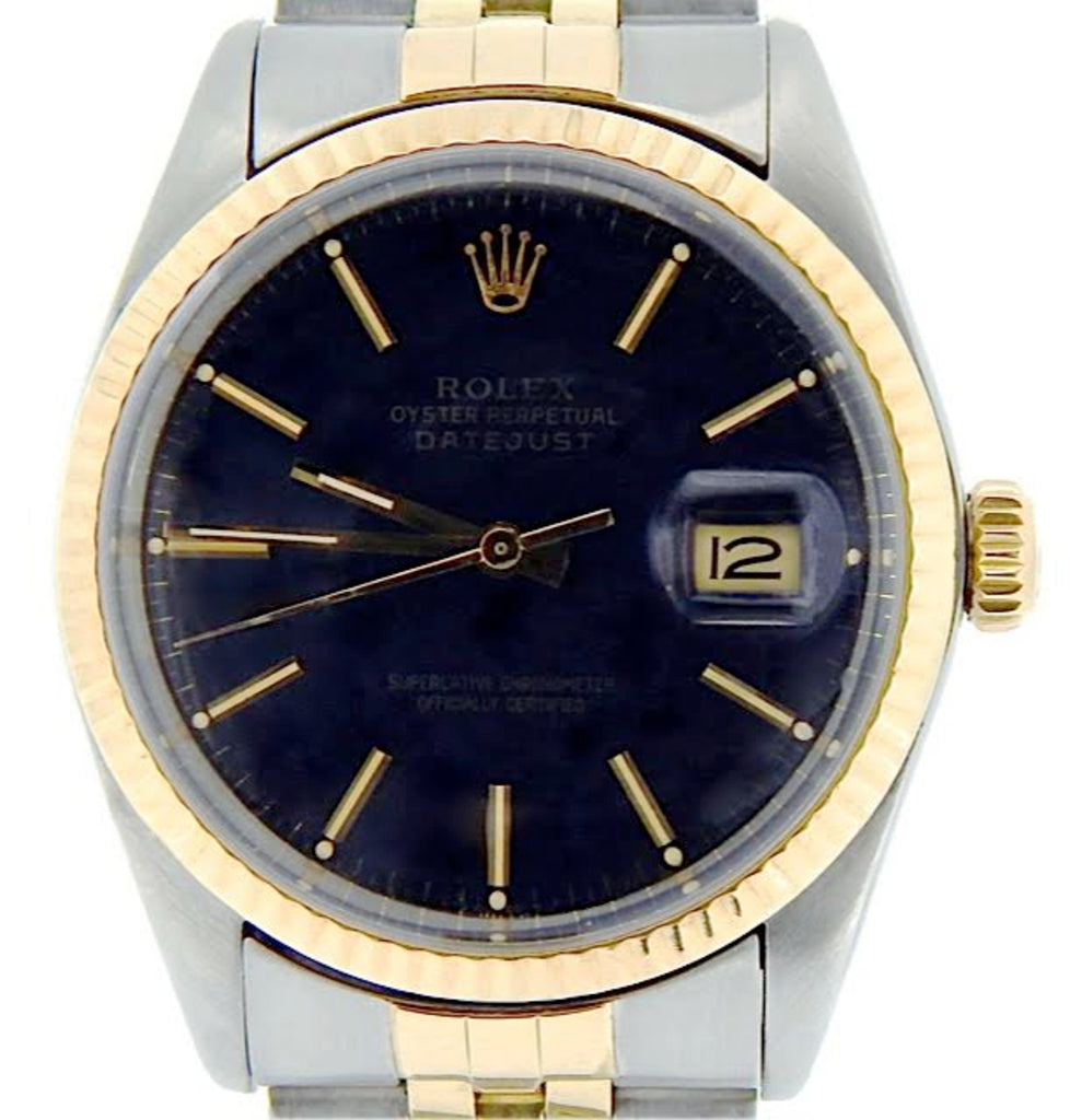 Pre Owned Mens Rolex Two-Tone Datejust with a Black Dial 16013