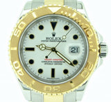 PRE OWNED MENS ROLEX TWO-TONE YACHT-MASTER DATE WITH A WHITE DIAL 16623