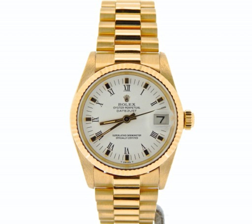 Pre Owned Mid-Size Rolex Yellow Gold Datejust President White Roman 6827