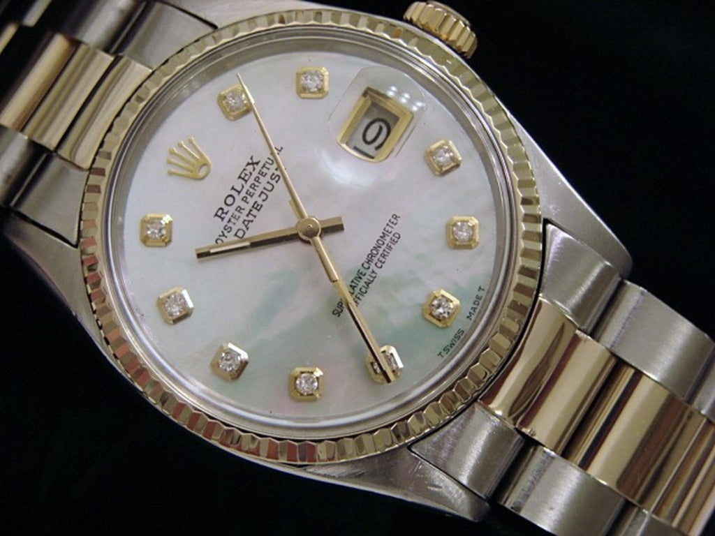 Pre Owned Mens Rolex Two-Tone Datejust with a MOP Diamond Dial 16013