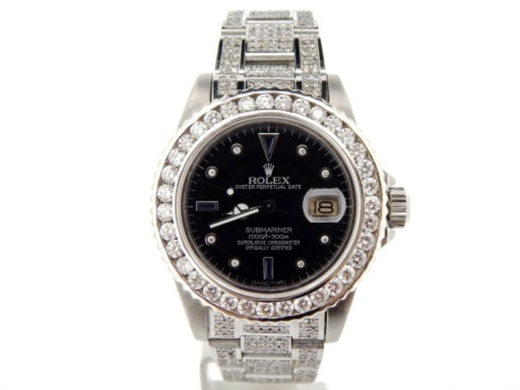 PRE OWNED MENS ROLEX STAINLESS STEEL SUBMARINER DATE DIAMOND BLACK 16610