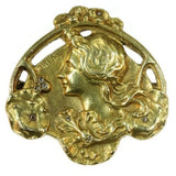 Art Nouveau floral gold Lady profile pin
