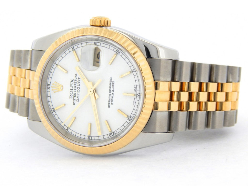 Pre Owned Mens Rolex Two-Tone Datejust with a White Dial 116233