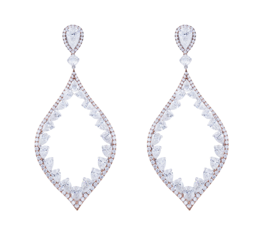 Diamond hoop drop earrings