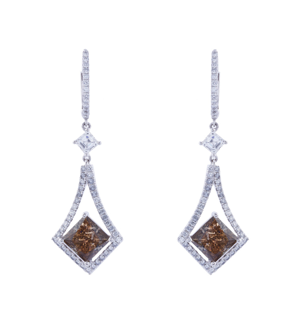 Brown diamond drop earrings