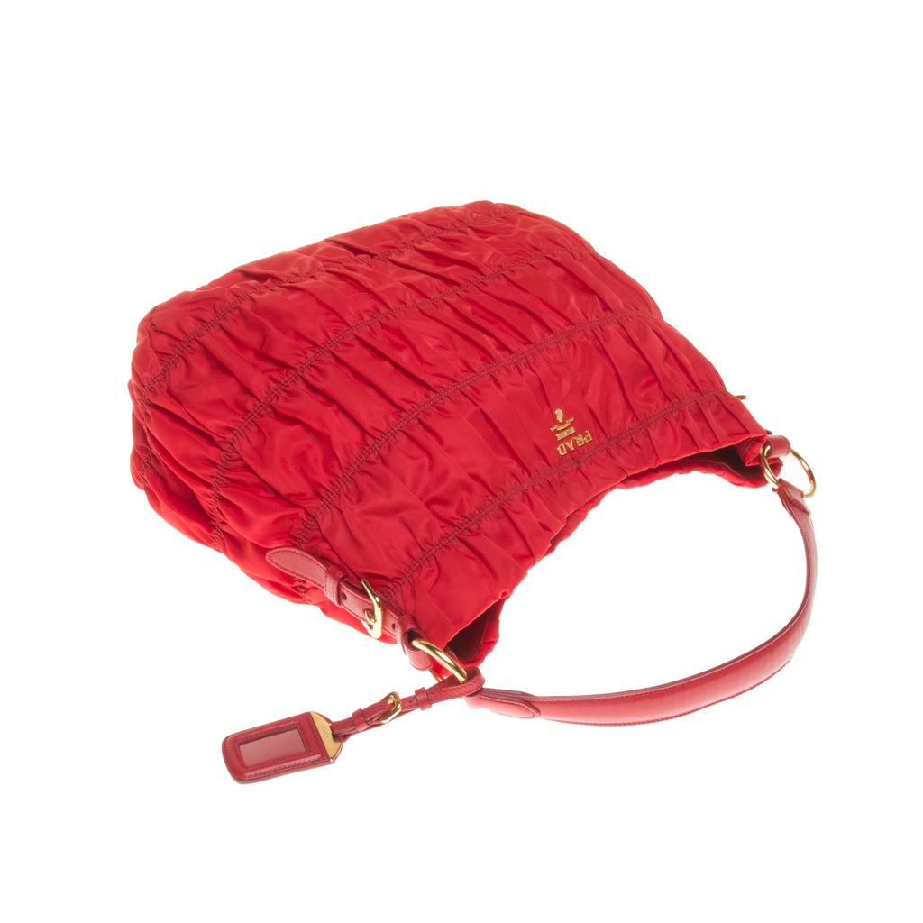Prada Red Nylon Shoulder Bag with Shoulder Strap