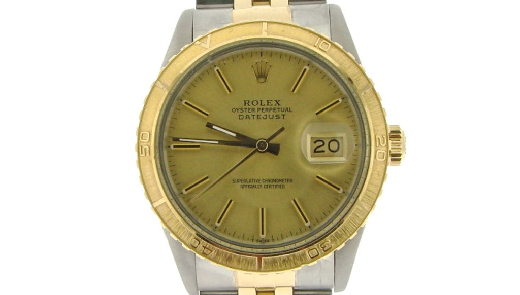 Pre Owned Mens Rolex Two-Tone Datejust with a Gold Champagne Dial 16253