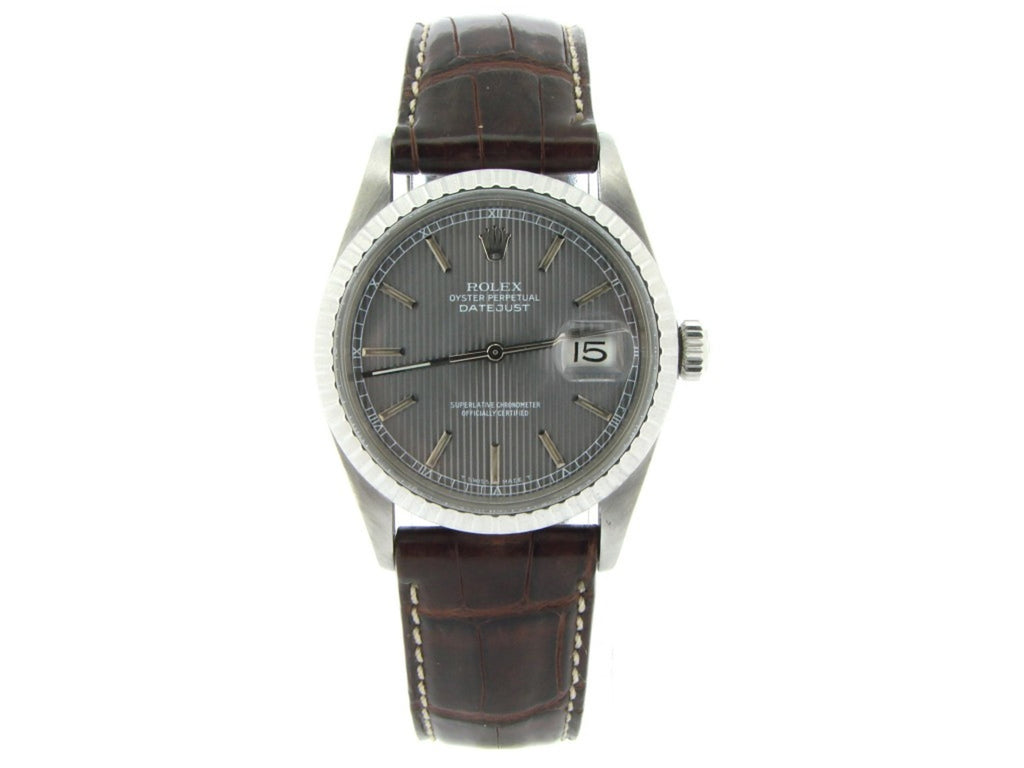 Pre Owned Mens Rolex Stainless Steel Datejust with a Slate Tapestry Dial 16030
