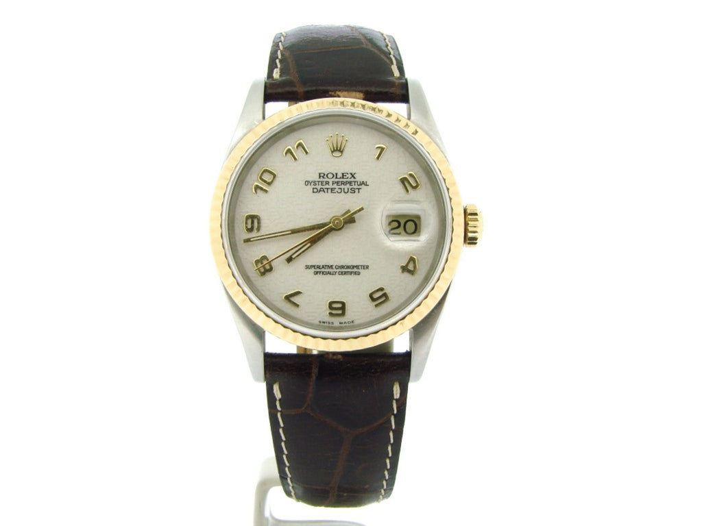 Pre Owned Mens Rolex Two-Tone Datejust with a White Arabic Dial 16233