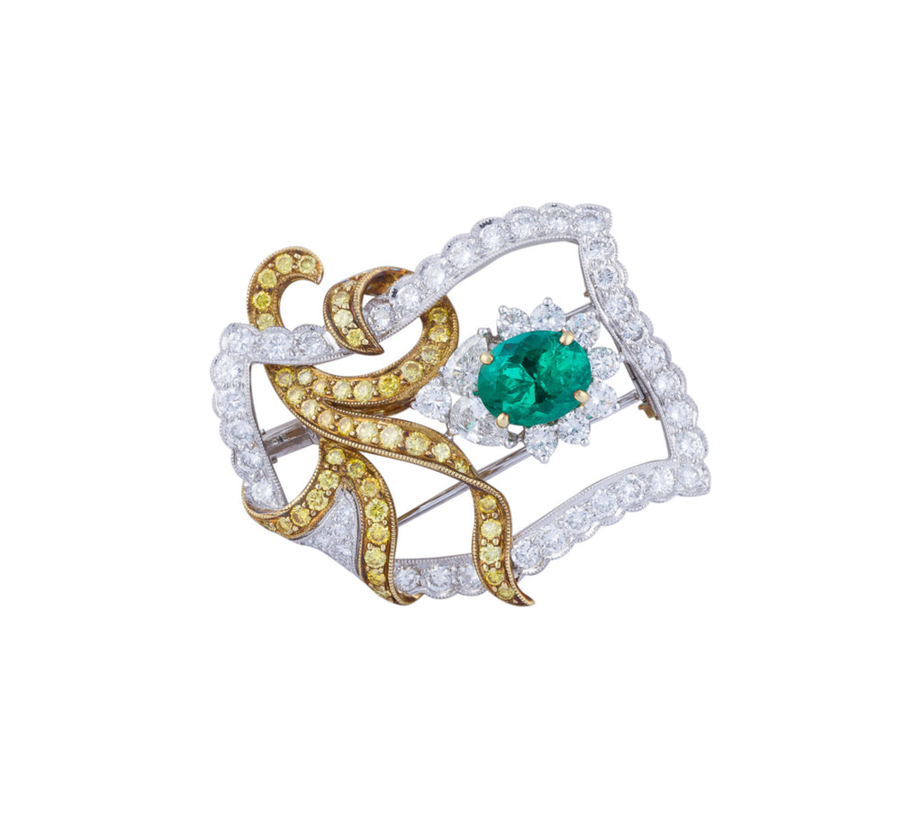 Colombian emerald and diamond brooch
