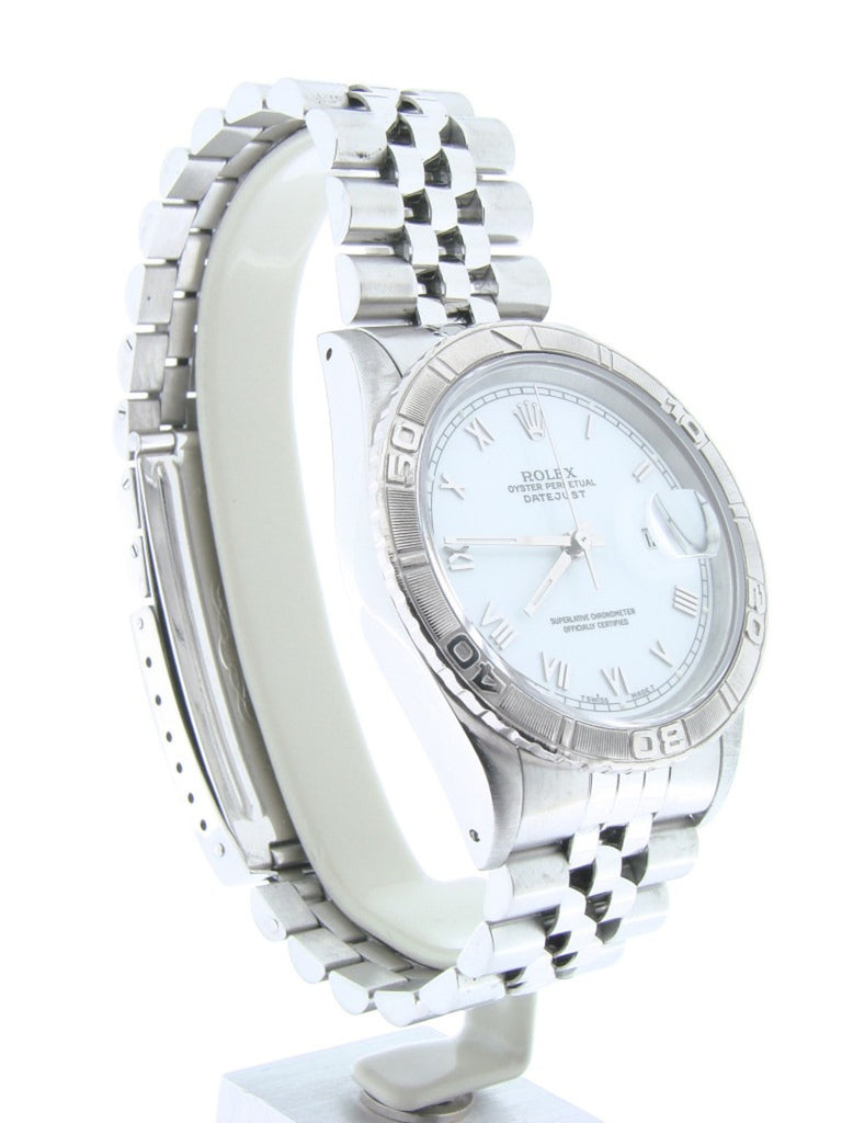 Pre Owned Mens Rolex Stainless Steel Roman Datejust with a White Dial 16264