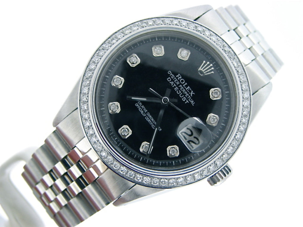 Pre Owned Mens Rolex Stainless Steel Datejust Black Diamond 1603