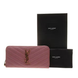 YSL / Saint Laurent 358094 Old Rose Matelasse Calf Leather Zip Around Long Walle