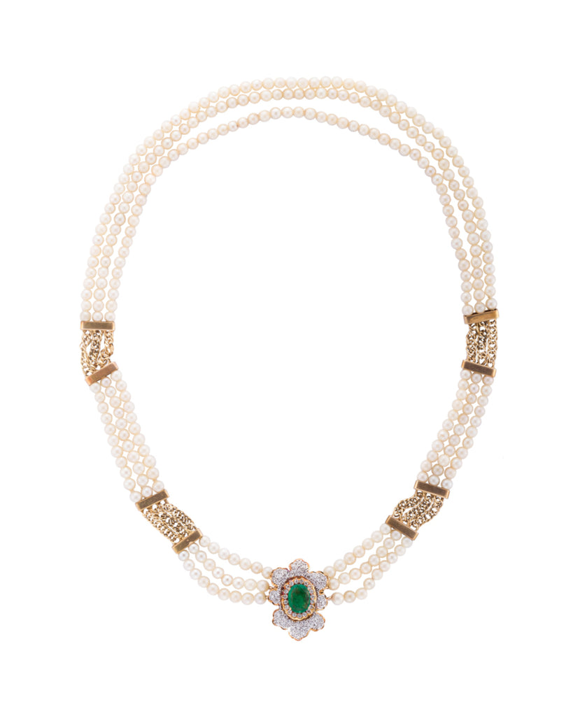 Pearl, emerald, and diamond necklace