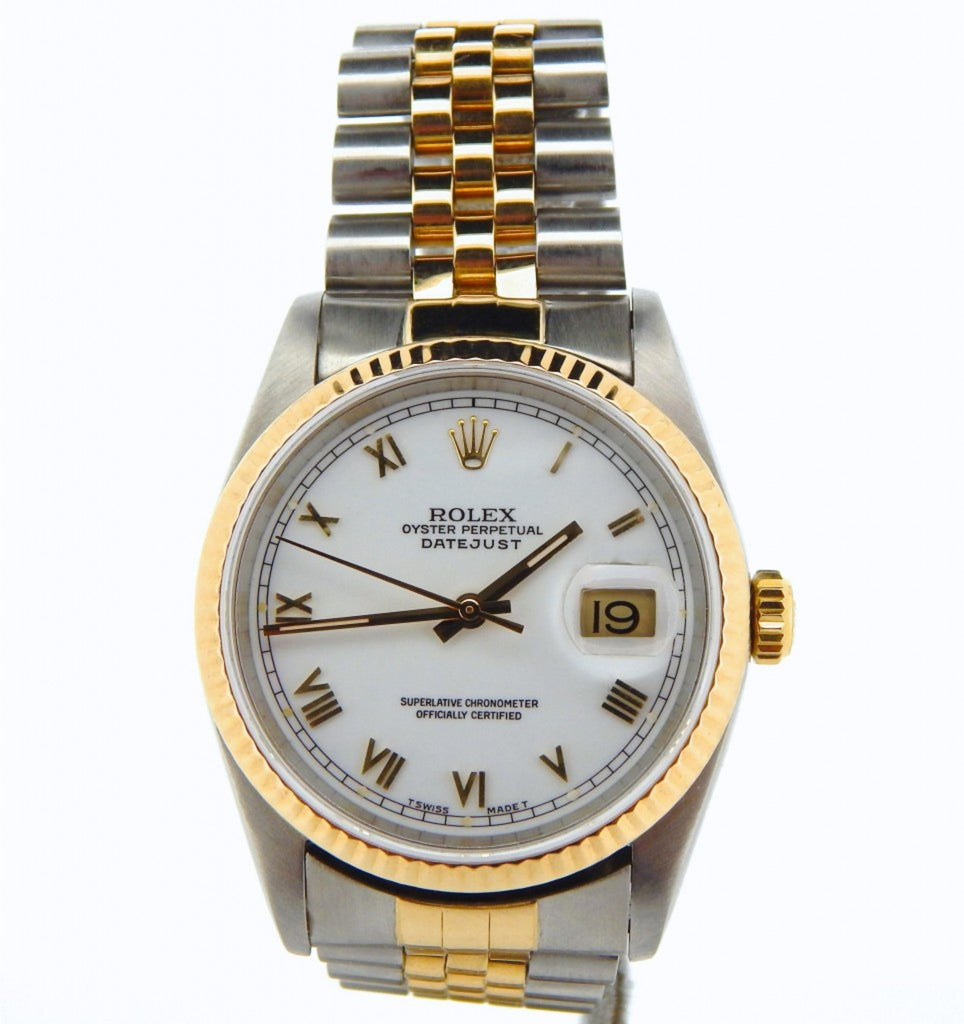 Pre Owned Mens Rolex Two-Tone Datejust with a White Roman Dial 16233