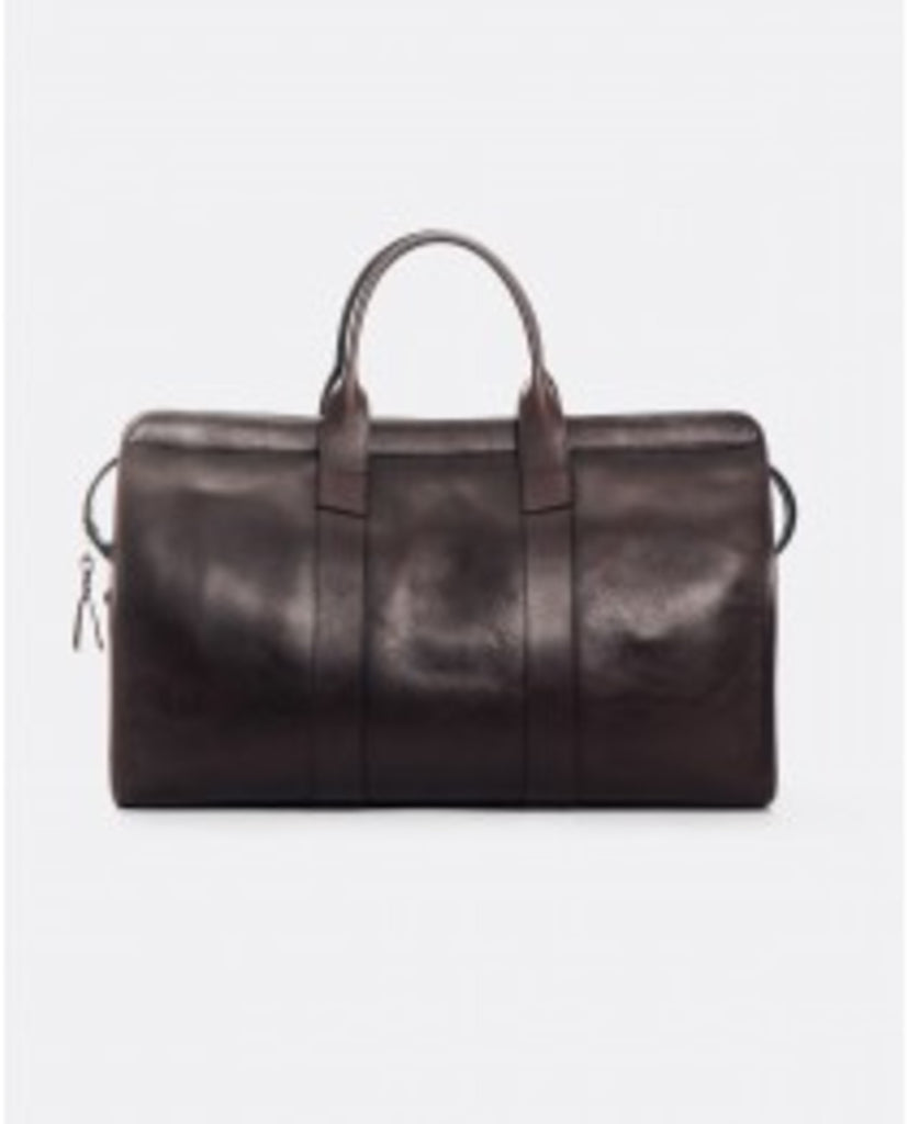 FRANK CLEGG TUMBLED LEATHER TRAVEL DUFFLE: CHOCOLATE