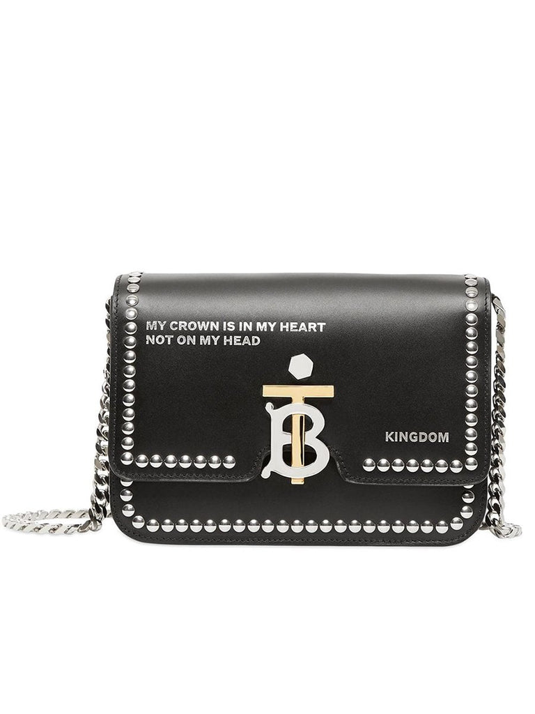Small Studded Montage Print Black Leather TB Bag