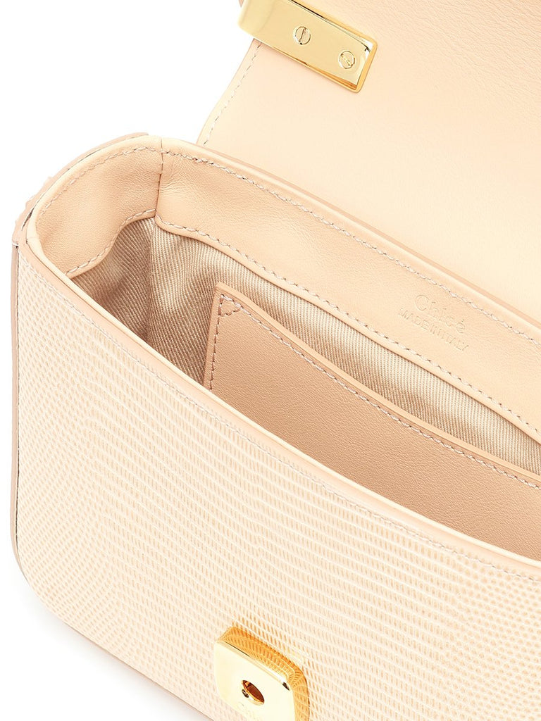 Mini C Delicate Pink Lizard effect Leather Shoulder Bag