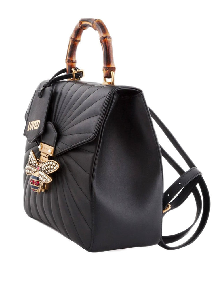 Queen Margaret Black quilted Leather Backpack