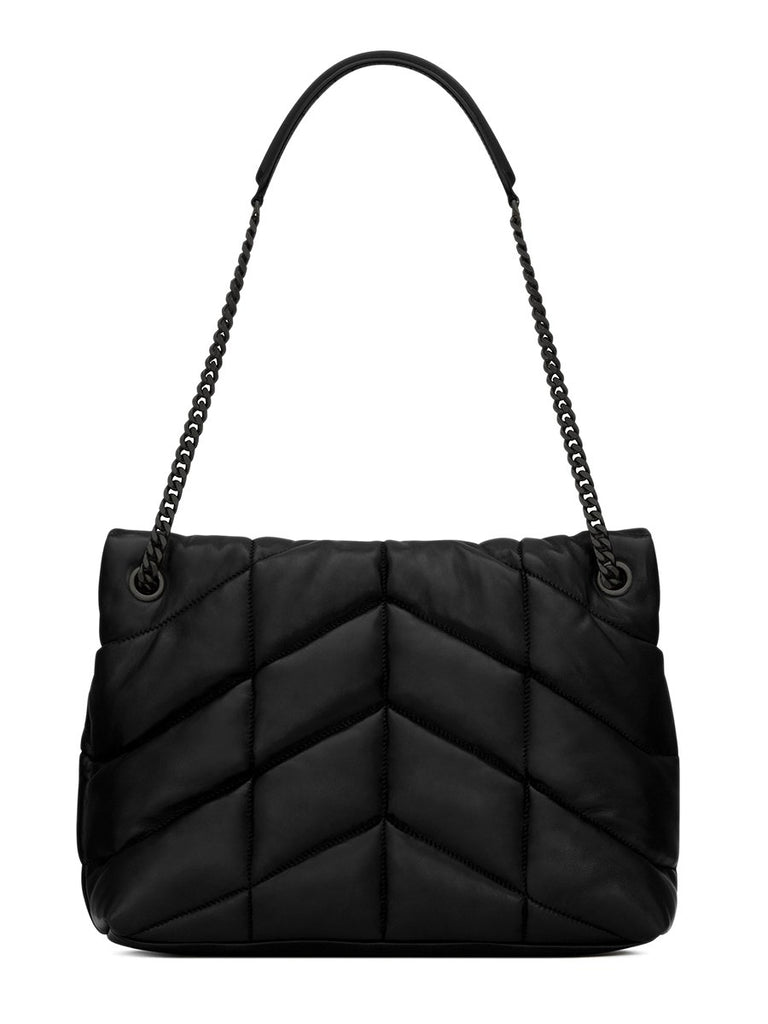 Loulou Puffer Medium Black Quilted Black Logo Shoulder Bag