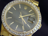 Pre Owned Mens Rolex Yellow Gold Datejust Diamond with a Black Dial 16238
