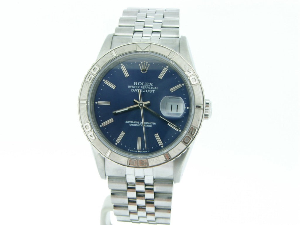 Pre Owned Mens Rolex Stainless Steel Datejust with a Blue Dial 16264