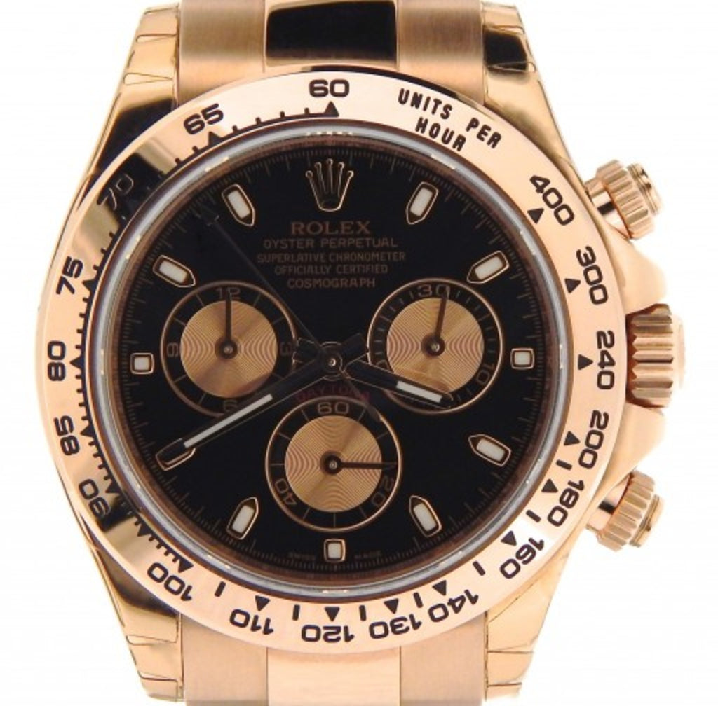 PRE OWNED MENS ROLEX EVEROSE ROSE GOLD DAYTONA WITH A BLACK DIAL 116505