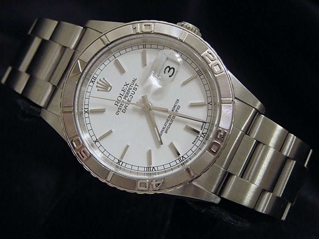Pre Owned Mens Rolex Stainless Steel Datejust with a White Dial 16264