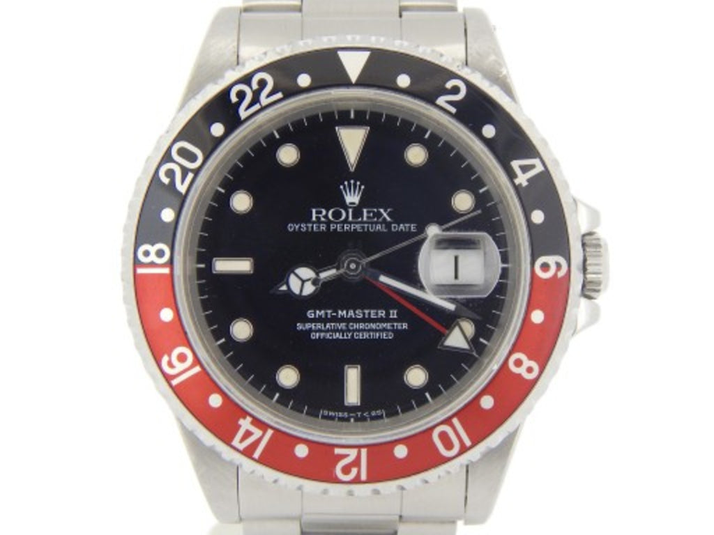 PRE OWNED MENS ROLEX STAINLESS STEEL GMT MASTER II WITH A BLACK DIAL 16710