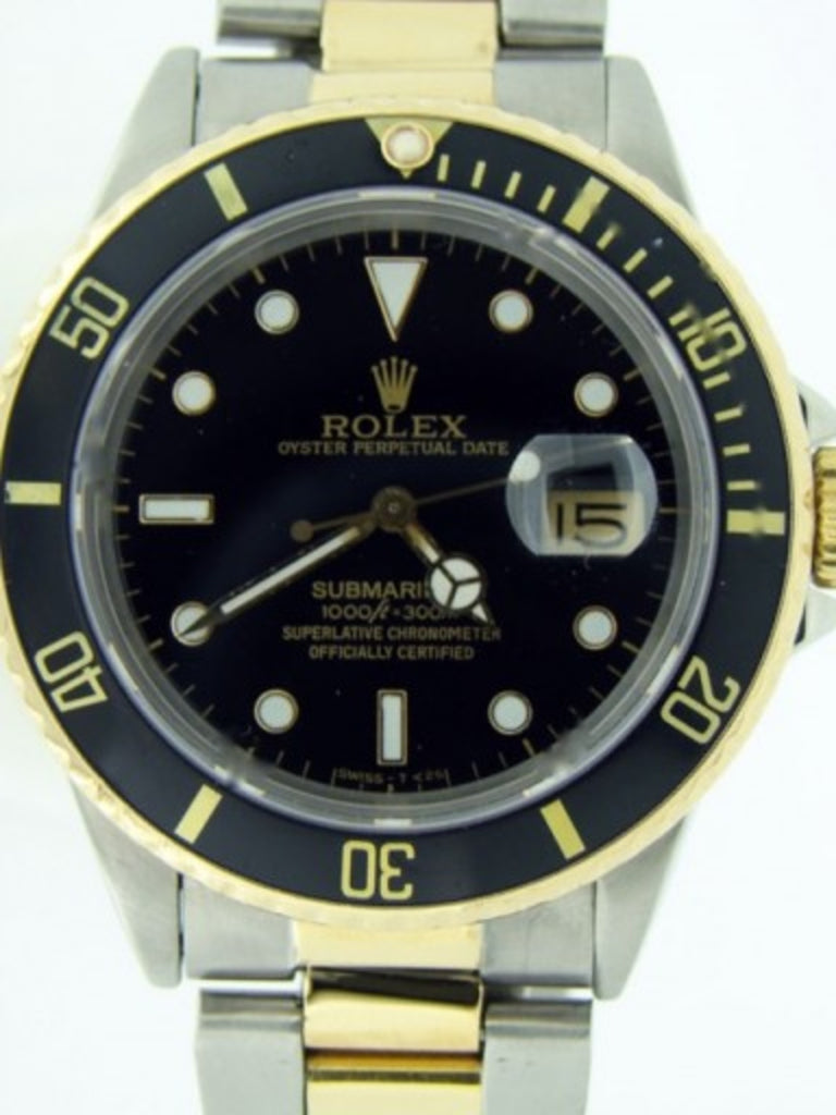 PRE OWNED MENS ROLEX TWO-TONE SUBMARINER DATE WITH A BLACK DIAL 16803