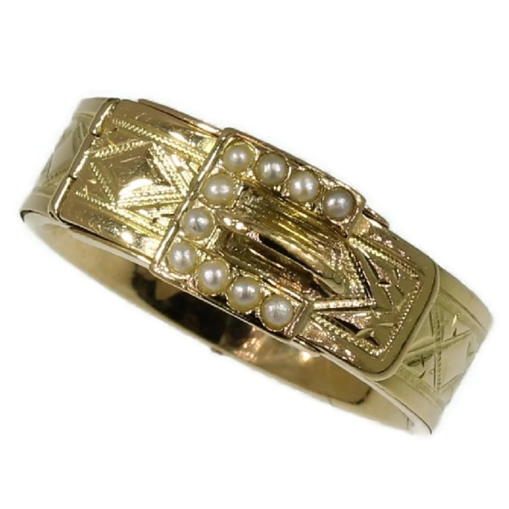 Gold Victorian belt ring with pearls