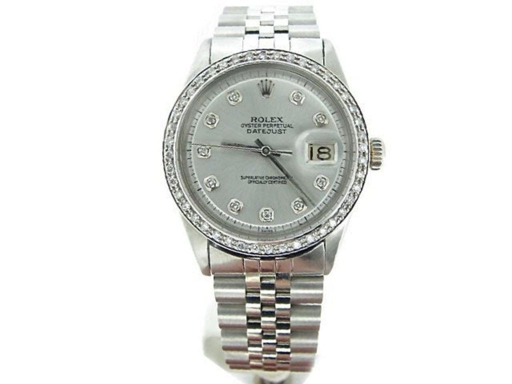 Pre Owned Mens Rolex Stainless Steel Datejust Silver Diamond 1603