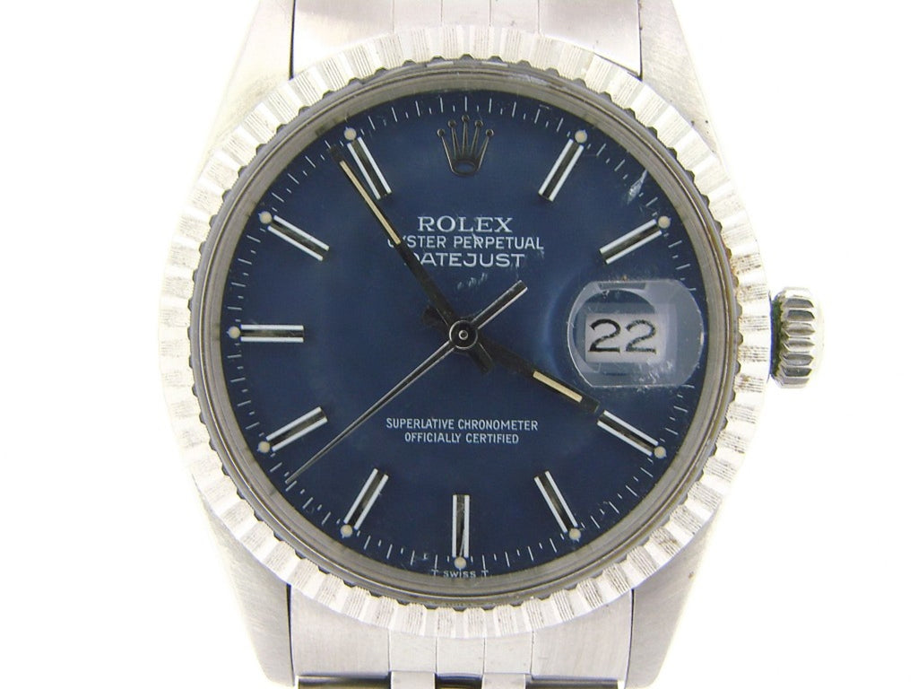 Pre Owned Mens Rolex Stainless Steel Datejust with a Blue Dial 16030
