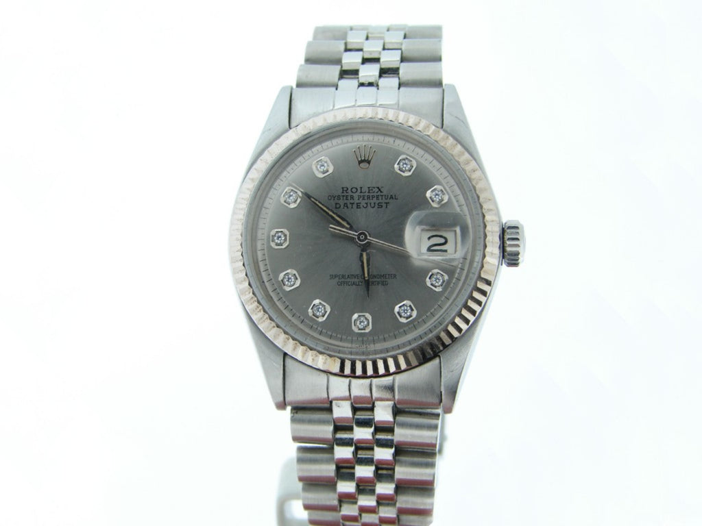 Pre Owned Mens Rolex Stainless Steel Datejust with a Silver Diamond Dial 1601