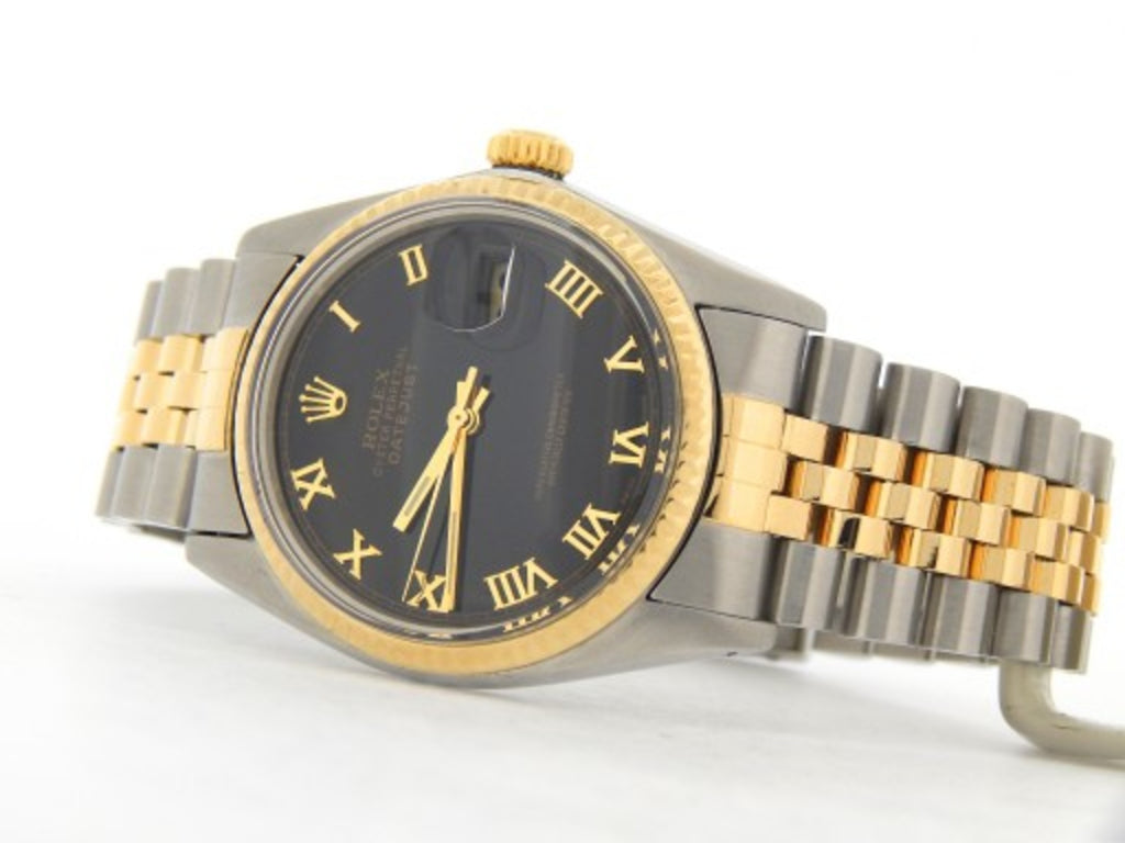 Pre Owned Mens Rolex Two-Tone Datejust with a Black Roman Dial 16013