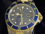 PRE OWNED MENS ROLEX TWO-TONE SUBMARINER DATE WITH A BLUE DIAL 16803