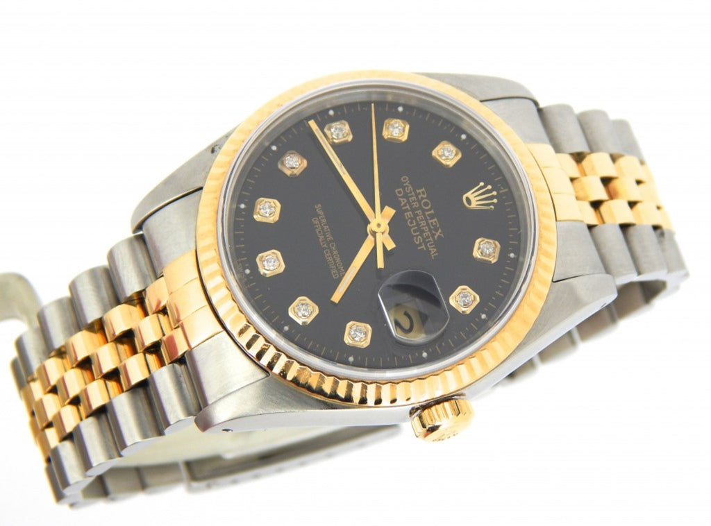 Pre Owned Mens Rolex Two-Tone Datejust with a Black Diamond Dial 16233