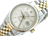 Pre Owned Mens Rolex Two-Tone Datejust with a Silver Tapestry Dial 16013
